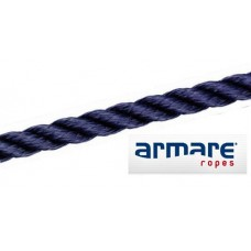 14mm Navy Polyester 3 Strand Rope