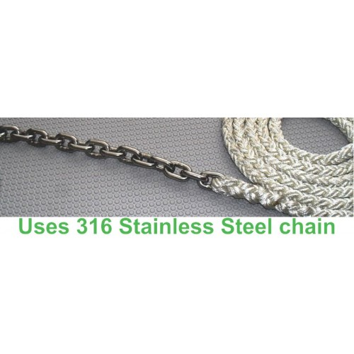 6mm 316 Stainless Steel chain 20mts spliced to 12mm 8 Braid 50mts